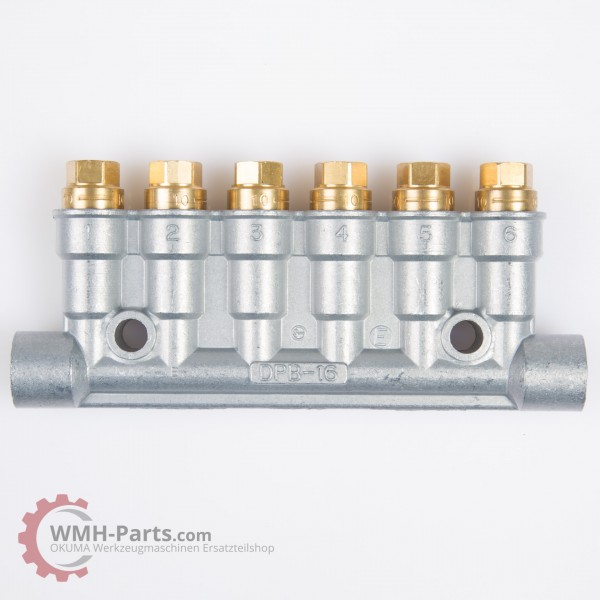 Showa Schmierverteiler 6 Anschlüsse, flach, 0,1 cm³/st, 0,8 - 3 MPa für Okuma