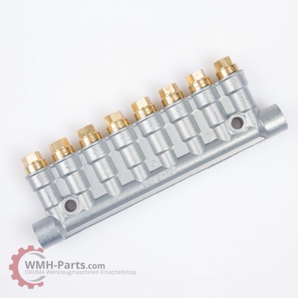 Showa Schmierverteiler 8 Anschlüsse, flach, 0,16 cm³/st, 0,8 - 3 MPa für Okuma